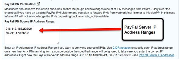 Screenshot of set up of PayPal IPN Source IP Address Validation