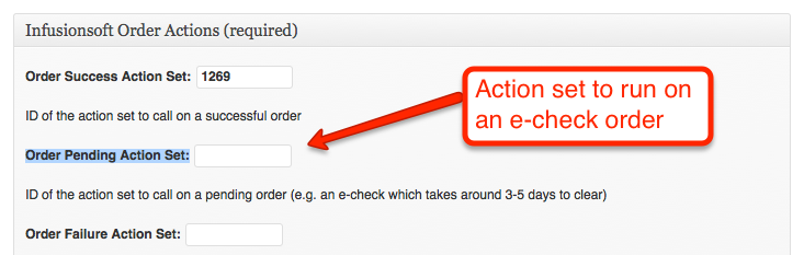 Screenshot of setting the actions to trigger on an e-check order