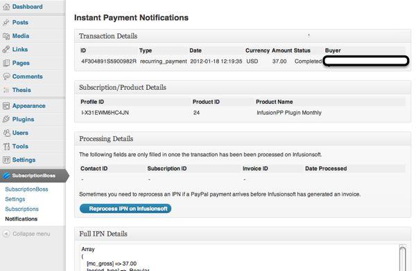Screenshot of PayPal IPN for reprocessing