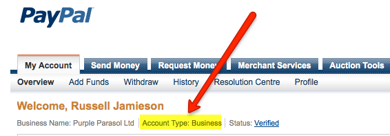 Screenshot of PayPal dashboard page