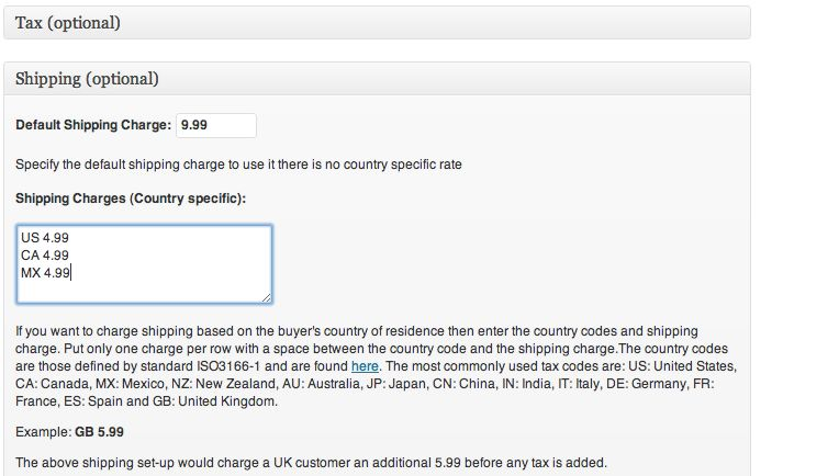 Screenshot of settings of shipping charges for a typical US supplier